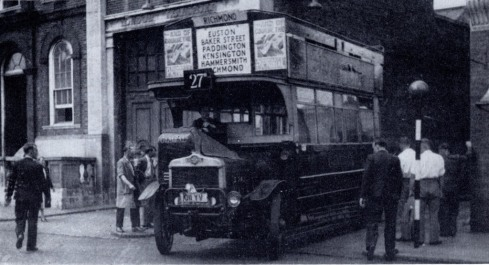 S742 number 27 pulling out of Hammersmith 1920s
