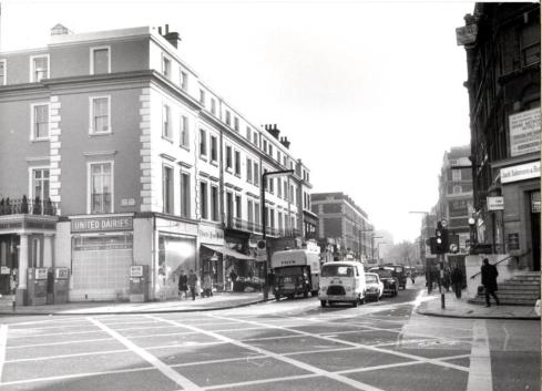 Gloucester Road looking south from Cromwell Road dec 1969 - Copy